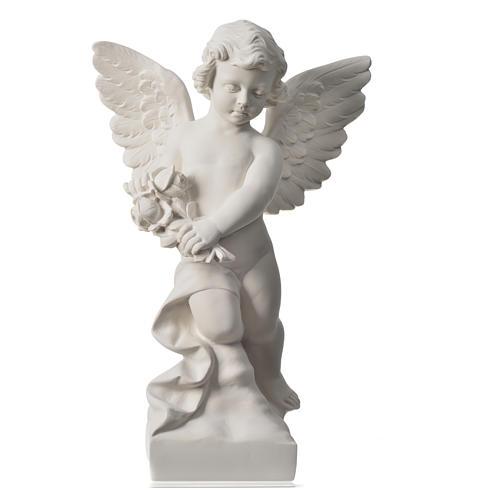 Angioletto con rosa marmo bianco di Carrara 60 cm 5