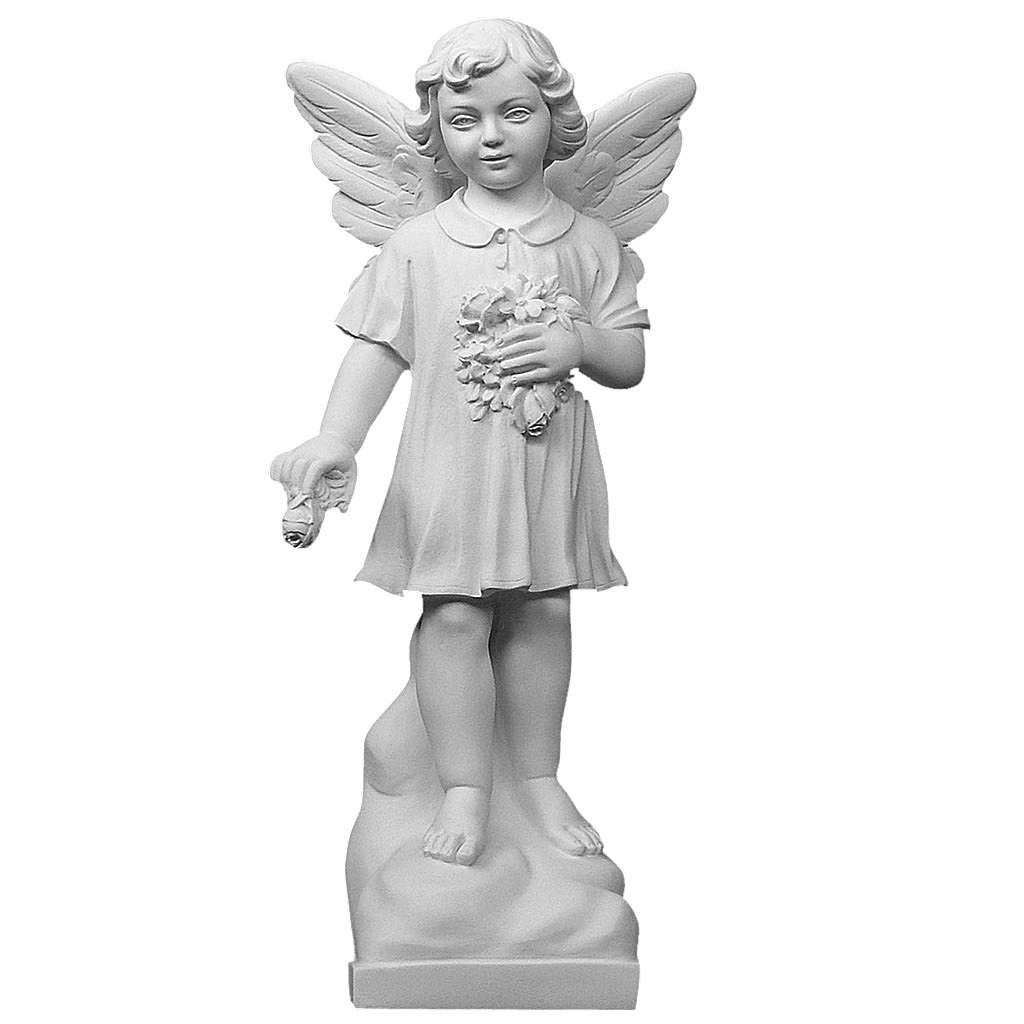 Angel and flowers in reconstituted white marble 23,62in 4