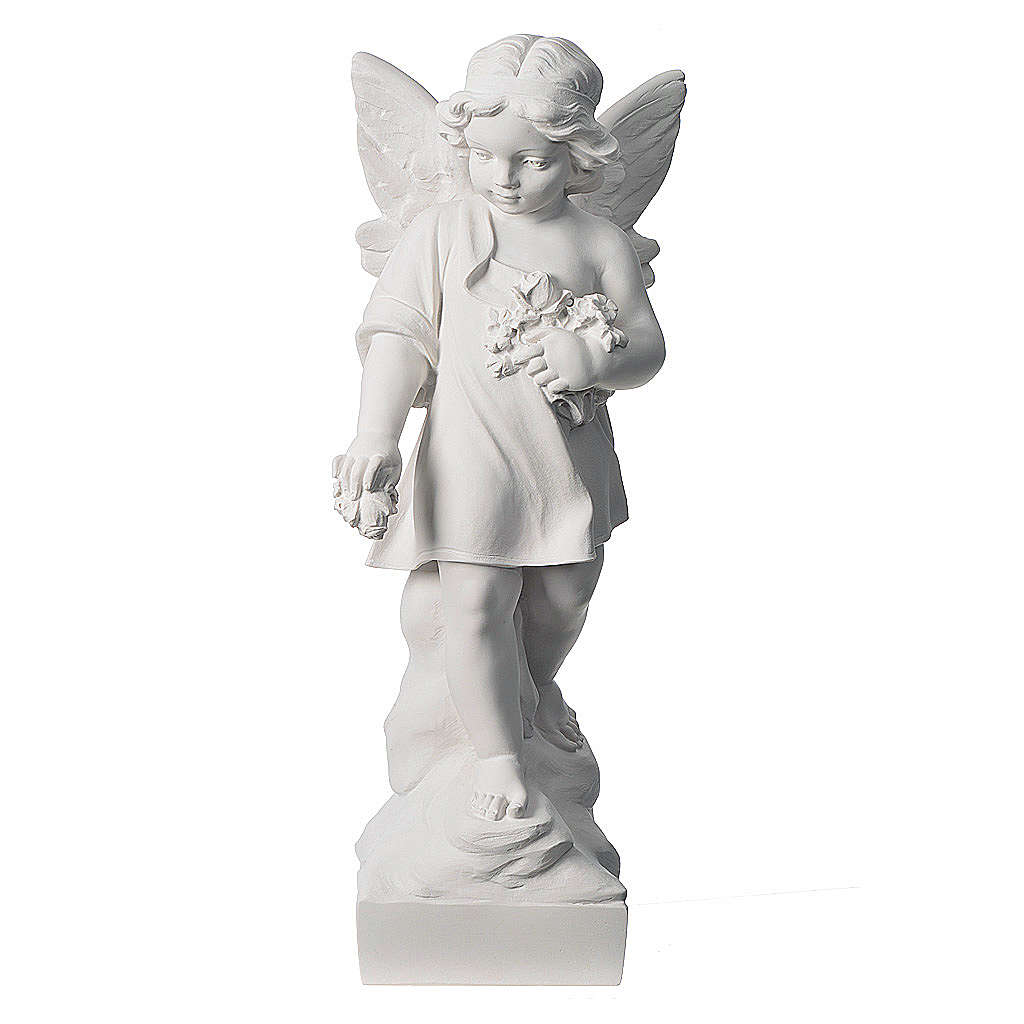 Petit ange avec fleurs marbre 60 cm 4
