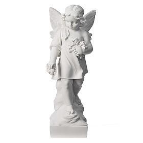 Petit ange avec fleurs marbre 60 cm s1
