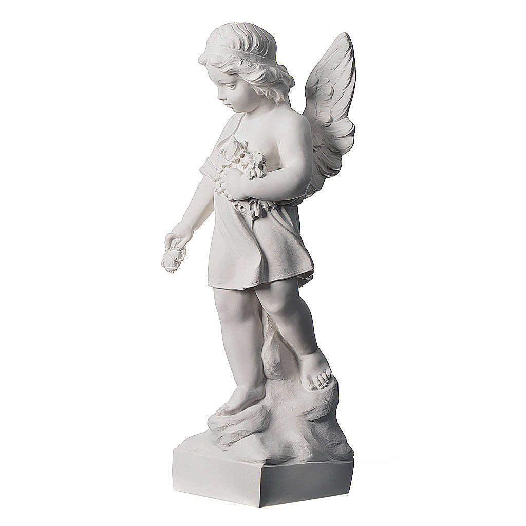 Angel and flowers in Carrara marble 23,62in 4