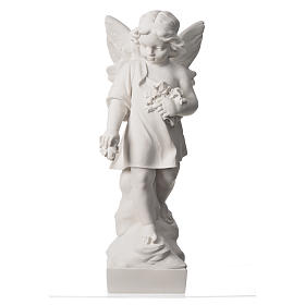 Angel and flowers in Carrara marble 23,62in s5