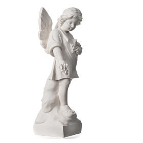 Angel and flowers in Carrara marble 23,62in s6