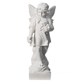 Angel and flowers in Carrara marble 23,62in s1