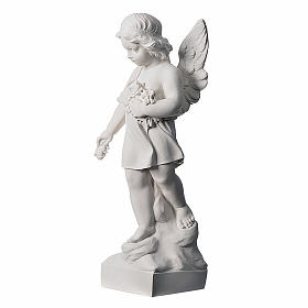 Angel and flowers in Carrara marble 23,62in s3