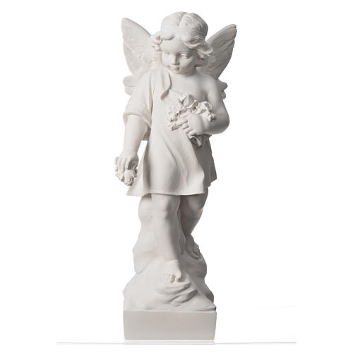 Angel and flowers in Carrara marble 23,62in 5