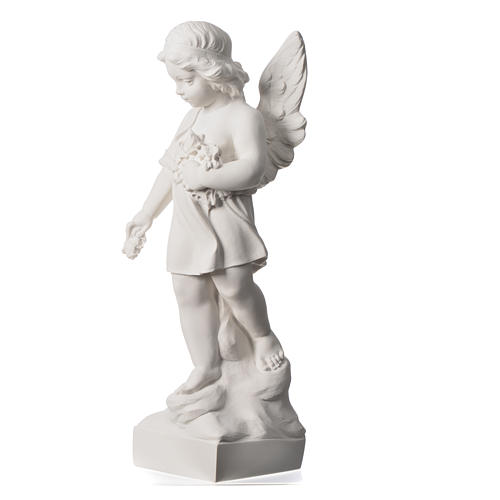 Angel and flowers in Carrara marble 23,62in 7