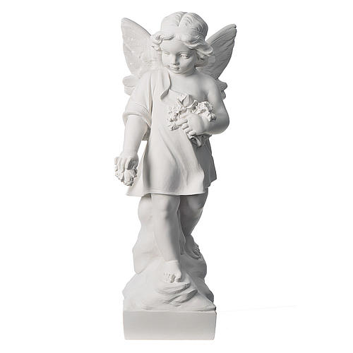Angel and flowers in Carrara marble 23,62in 1