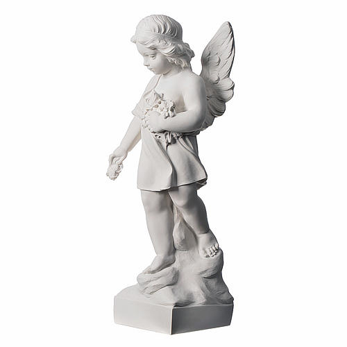 Angel and flowers in Carrara marble 23,62in 3