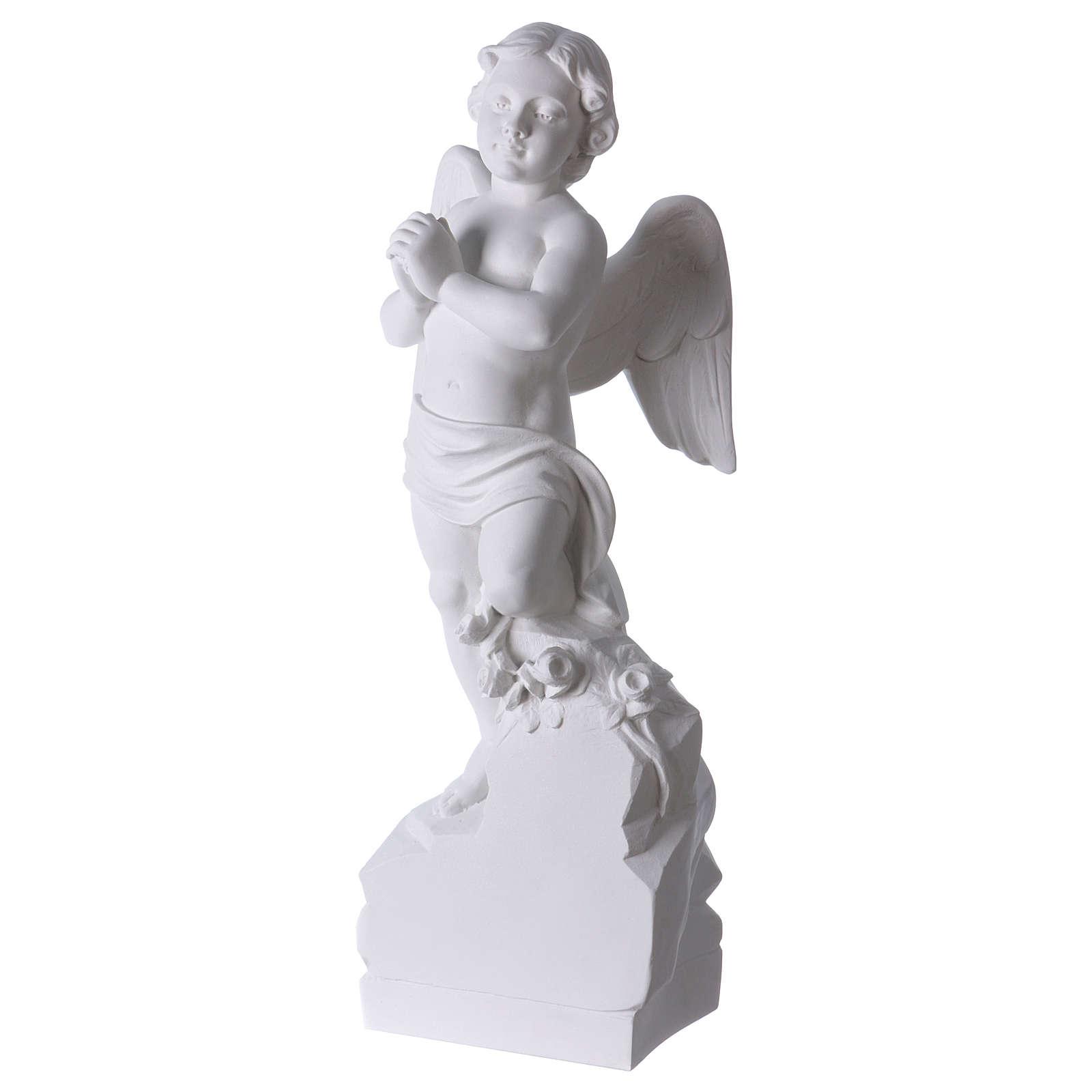 Angel on rock in white Carrara marble 23,62in 4