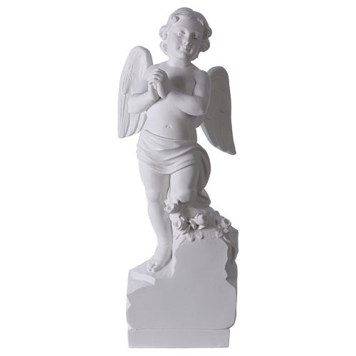 Angel on rock in white Carrara marble 23,62in 1