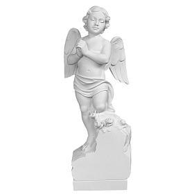 Angelo su sasso 60 cm marmo bianco s1