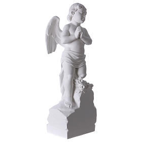 Angelo su sasso 60 cm marmo bianco s4