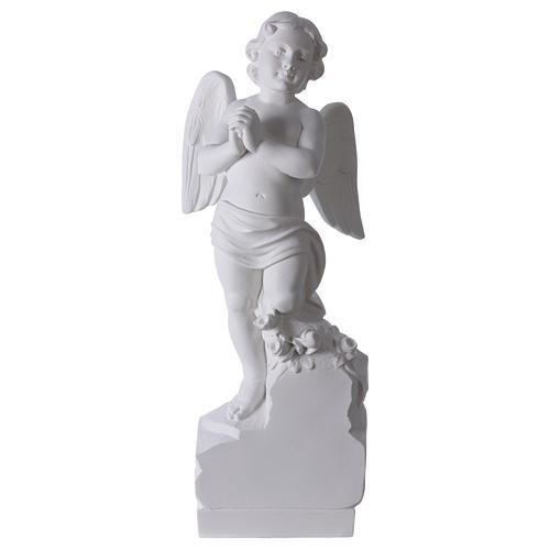 Angelo su sasso 60 cm marmo bianco 1