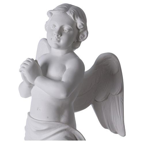 Angelo su sasso 60 cm marmo bianco 2