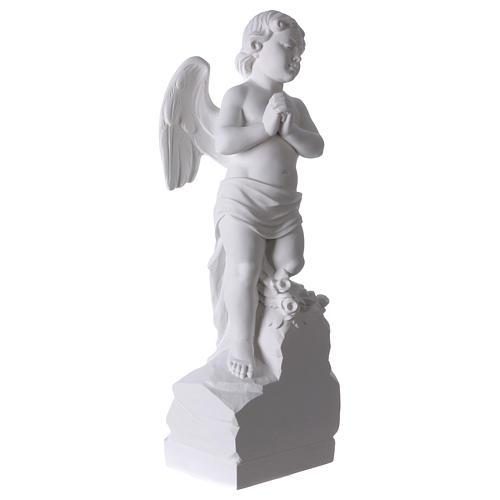 Angelo su sasso 60 cm marmo bianco 4