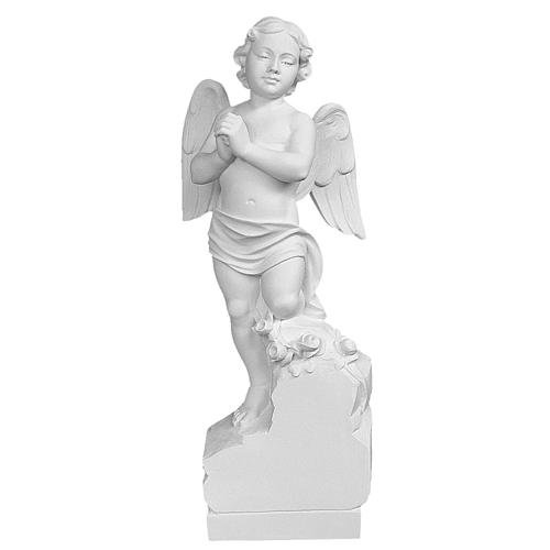 Angel on rock in white Carrara marble 23,62in 2