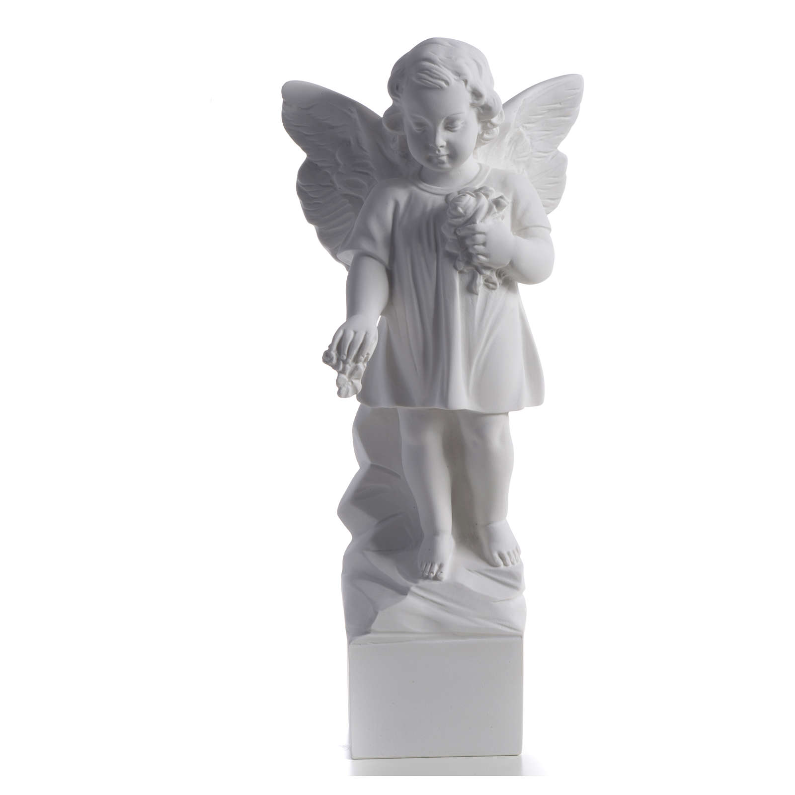 Angel with flowers in reconstituted white marble 15,75in 4