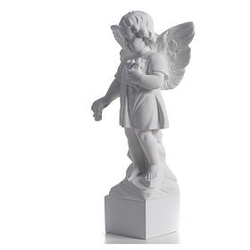 Angel with flowers in reconstituted white marble 15,75in s6
