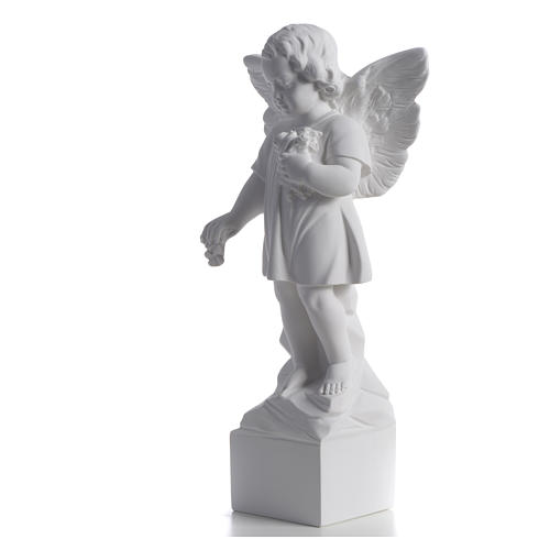 Angel with flowers in reconstituted white marble 15,75in 6
