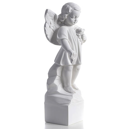 Angel with flowers in reconstituted white marble 15,75in 2