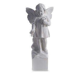 Angel with flowers in reconstituted white marble 15,75in s4