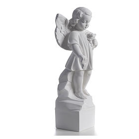 Angel with flowers in reconstituted white marble 15,75in s5