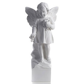 Angel with flowers in reconstituted white marble 15,75in s1