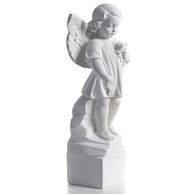 Angel with flowers in reconstituted white marble 15,75in s2