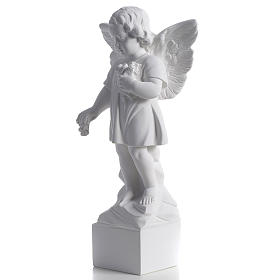 Angel with flowers in reconstituted white marble 15,75in s3