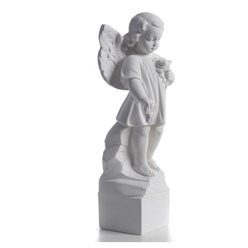 Angel with flowers in reconstituted white marble 15,75in 5