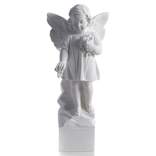Angel with flowers in reconstituted white marble 15,75in 1