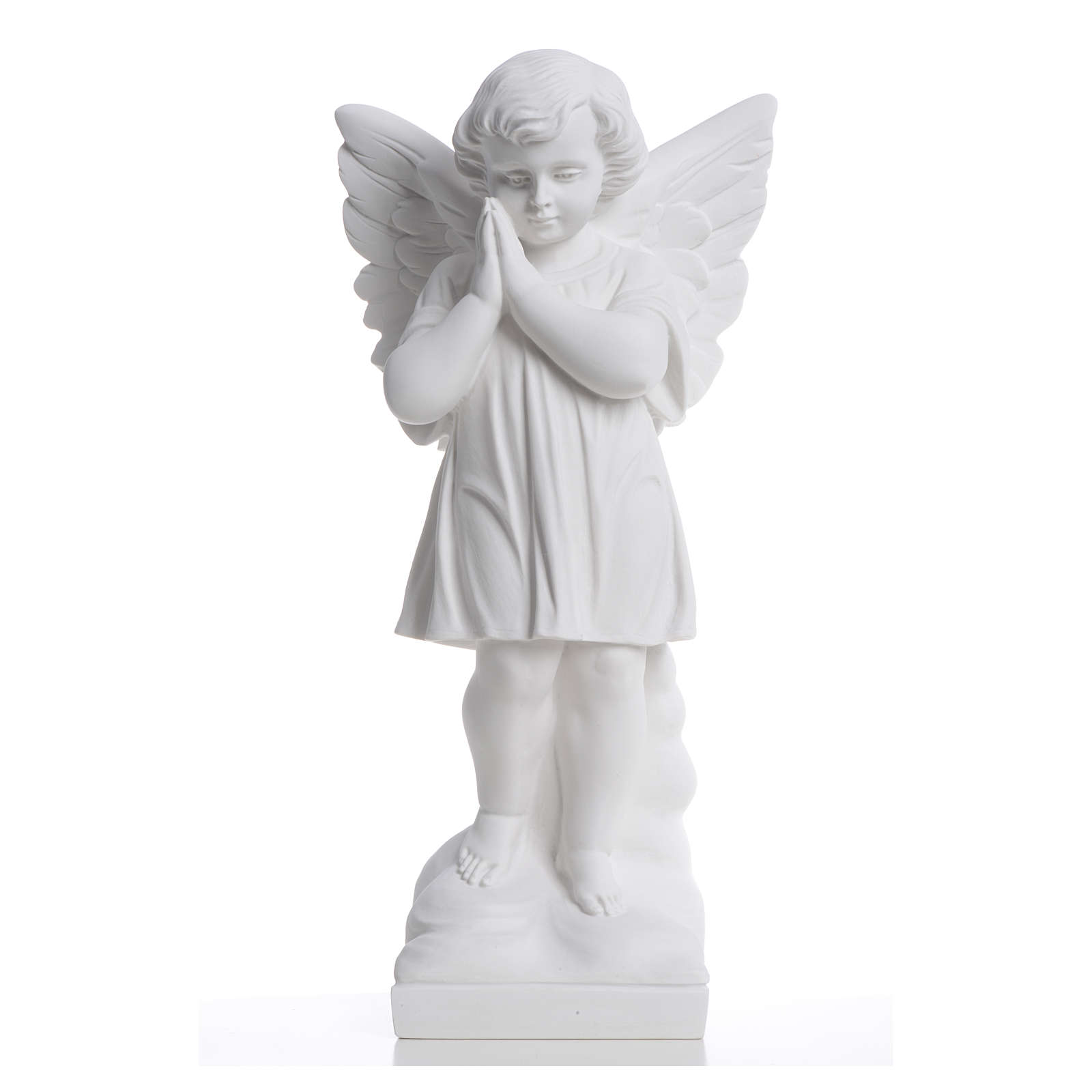 Angel with hands joined in reconstituted white marble 15,75in 4