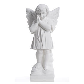 Angel with hands joined in reconstituted white marble 15,75in s5
