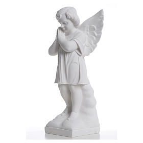 Angel with hands joined in reconstituted white marble 15,75in s6