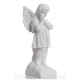 Angel with hands joined in reconstituted white marble 15,75in s8