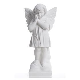Angel with hands joined in reconstituted white marble 15,75in s1