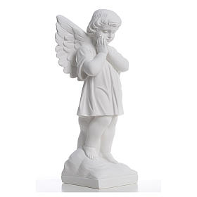 Angel with hands joined in reconstituted white marble 15,75in s4