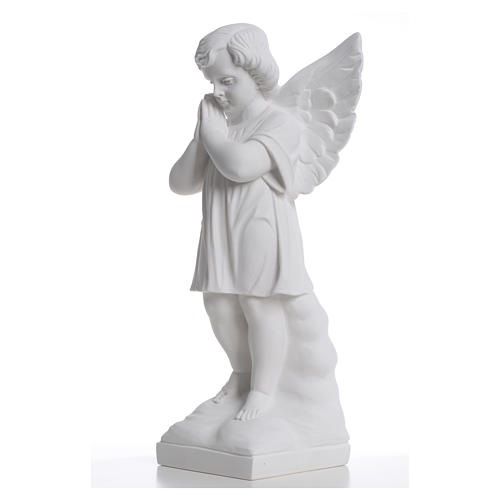 Angel with hands joined in reconstituted white marble 15,75in 6