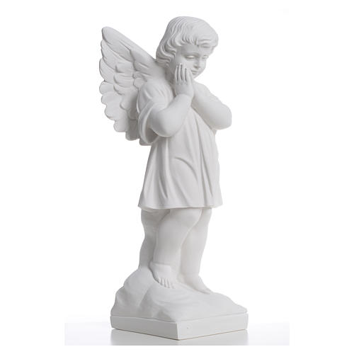 Angel with hands joined in reconstituted white marble 15,75in 8