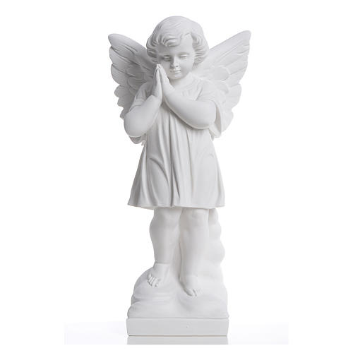 Angel with hands joined in reconstituted white marble 15,75in 1