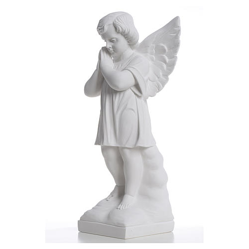 Angel with hands joined in reconstituted white marble 15,75in 2