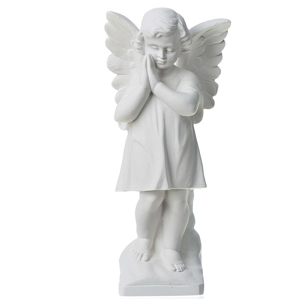 Angel with hands joined in reconstituted white marble 11,81in 4