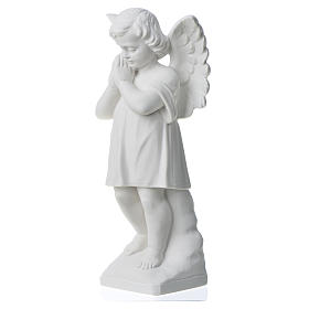 Angel with hands joined in reconstituted white marble 11,81in s6