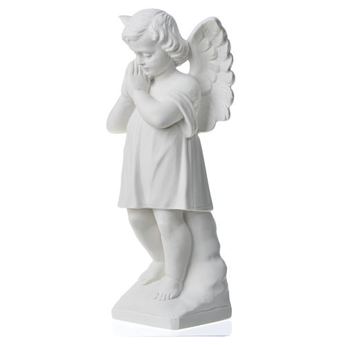 Angel with hands joined in reconstituted white marble 11,81in 6
