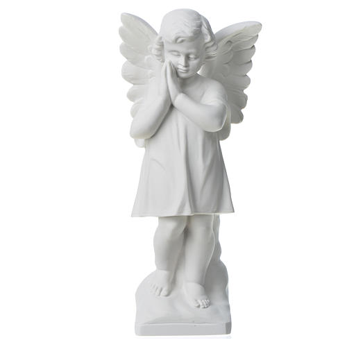 Angel with hands joined in reconstituted white marble 11,81in 5