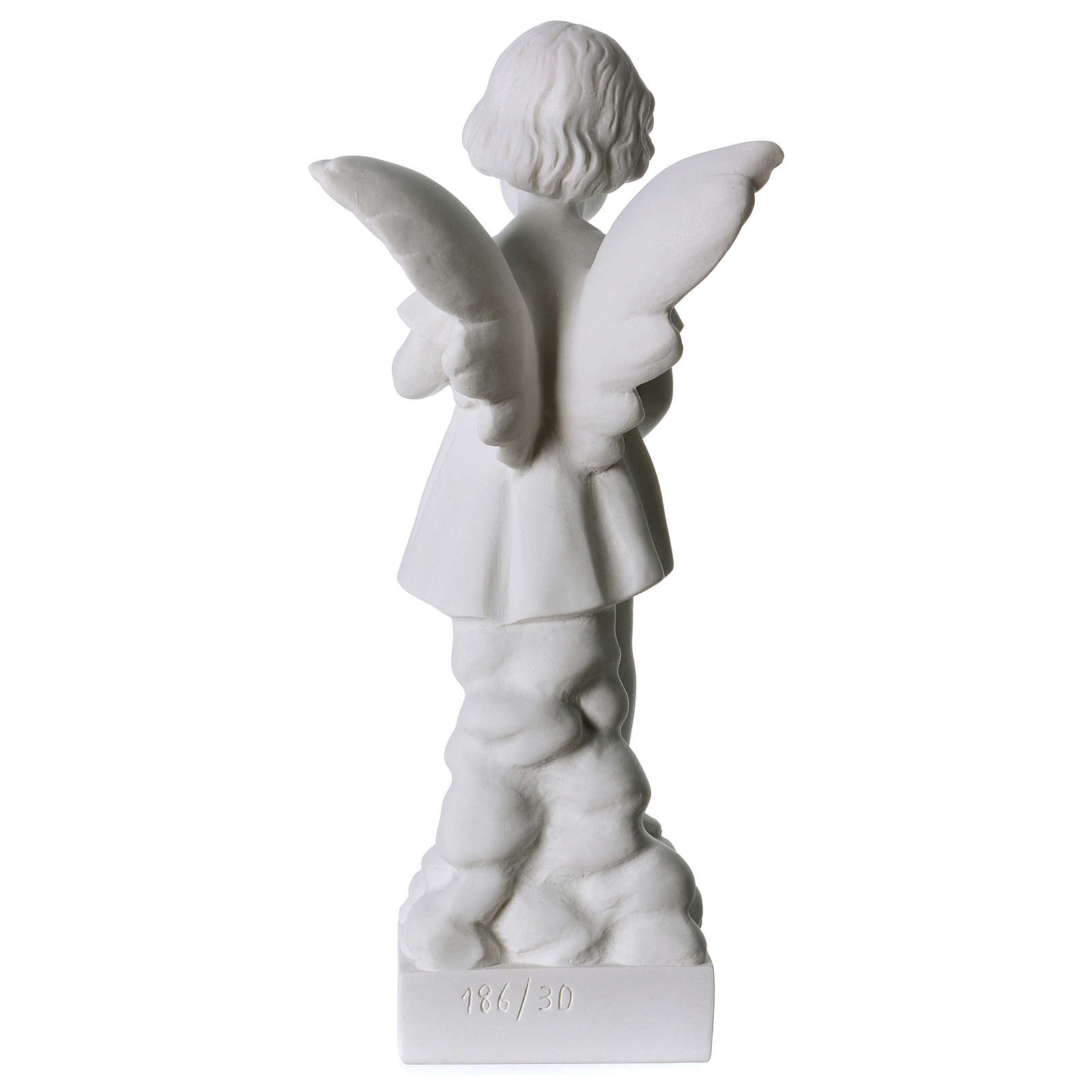 Angel and flowers in Carrara marble 30 cm 4