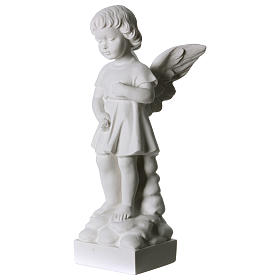 Angel and flowers in Carrara marble 30 cm s2