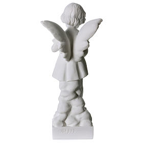 Angel and flowers in Carrara marble 30 cm s4