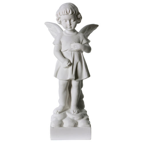 Angel and flowers in Carrara marble 30 cm 1